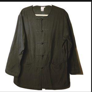 Garnet Hill linen silk casual black jacket Sz 14